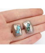 MEXICO 925 Silver - Vintage Petite Turquoise Mosaic Detail Drop Earrings... - $29.27