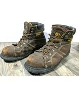 Caterpillar CAT SILVERTON Steel Toe Work Boots Mens 12 Brown Leather Saf... - $58.06