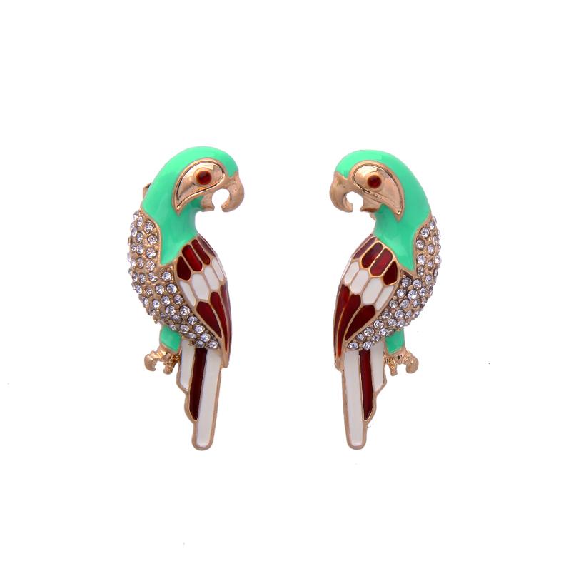 Enamel Parrot Bird Earrings Women Symmetric Personalized Stud Earrings Jewelry
