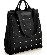 Women handbag preppy style punk rivet handbag tote bag canvas bag studen... - $16.06