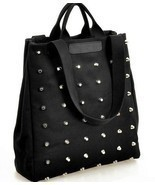 Women handbag preppy style punk rivet handbag tote bag canvas bag studen... - $21.08 CAD