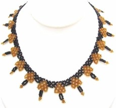 Vintage Black & Brown Beaded Triangle Pattern Choker Necklace*Handmade*Y284 - $17.82