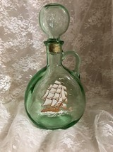 "Old Fitzgerald Flagship Decanter 10"" Green Glass  - Sailboat Decal on Front - $9.49"