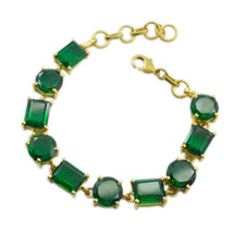comely Emerald CZ Gold Plated Green Bracelet genuine generally US gift - $25.38