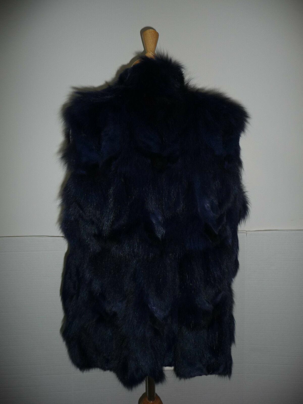 Jocelyn Bicolor Black Navy Roadie Fox Fur Vest New $1.1 image 8