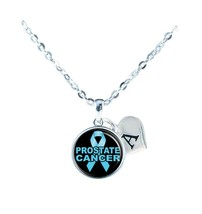 Custom Prostate Cancer Awareness Blue Ribbon Silver Necklace Jewelry Initial - $13.94