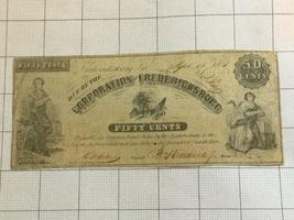 1861 Corporation Fredericksburg Virginia 50 Cents Obsolete Bank Note - $110.00