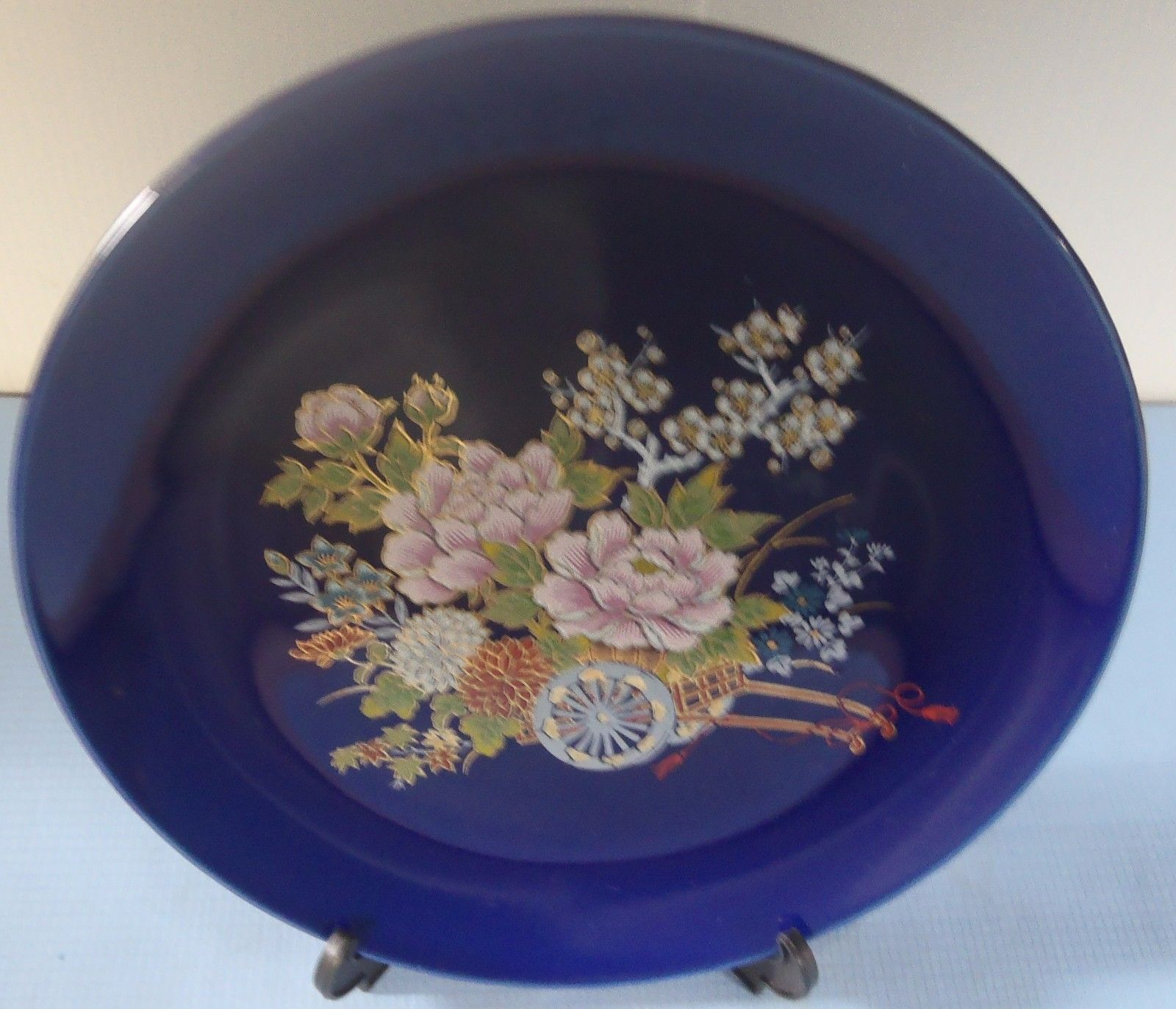 Vintage Japanese porcelain plate cobalt blue flower cart  made in Japan easel  7