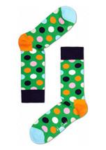 Happy Socks Unisex Combed Cotton Crew Big Dot in Green/Blue - $10.80