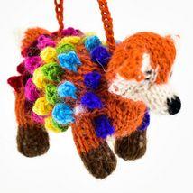 Handknit Alpaca Wool Whimsical Hanging Red Fox Ornament Handmade in Peru image 5