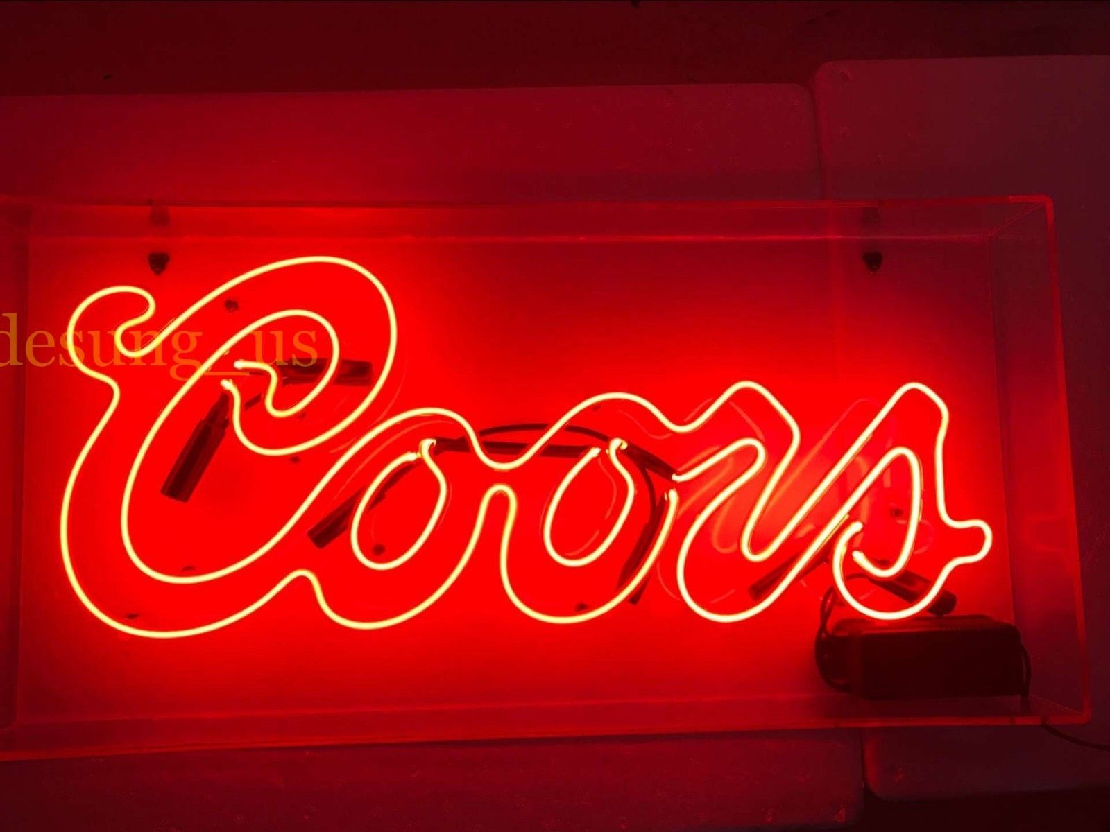 """New Coors Light Mountain Red Neon Light Sign 17/""""x14/"""""""