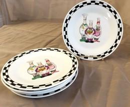 """6 Trisa Chefs Bread Plates Stoneware 8"""" Black Checkerboard Rim Oil Bottles - $29.69"""