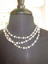 Beautiful Napier 3 Strand Gray and Pearl Bead Necklace Gently Used - $9.99