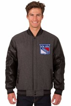 New York Rangers Wool & Leather Reversible Jacket with 2 Front Logos Gray - $219.99