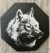 Genuine Slate Wolf Coasters, Capozzolo Brothers, Set Of 6 - $15.95