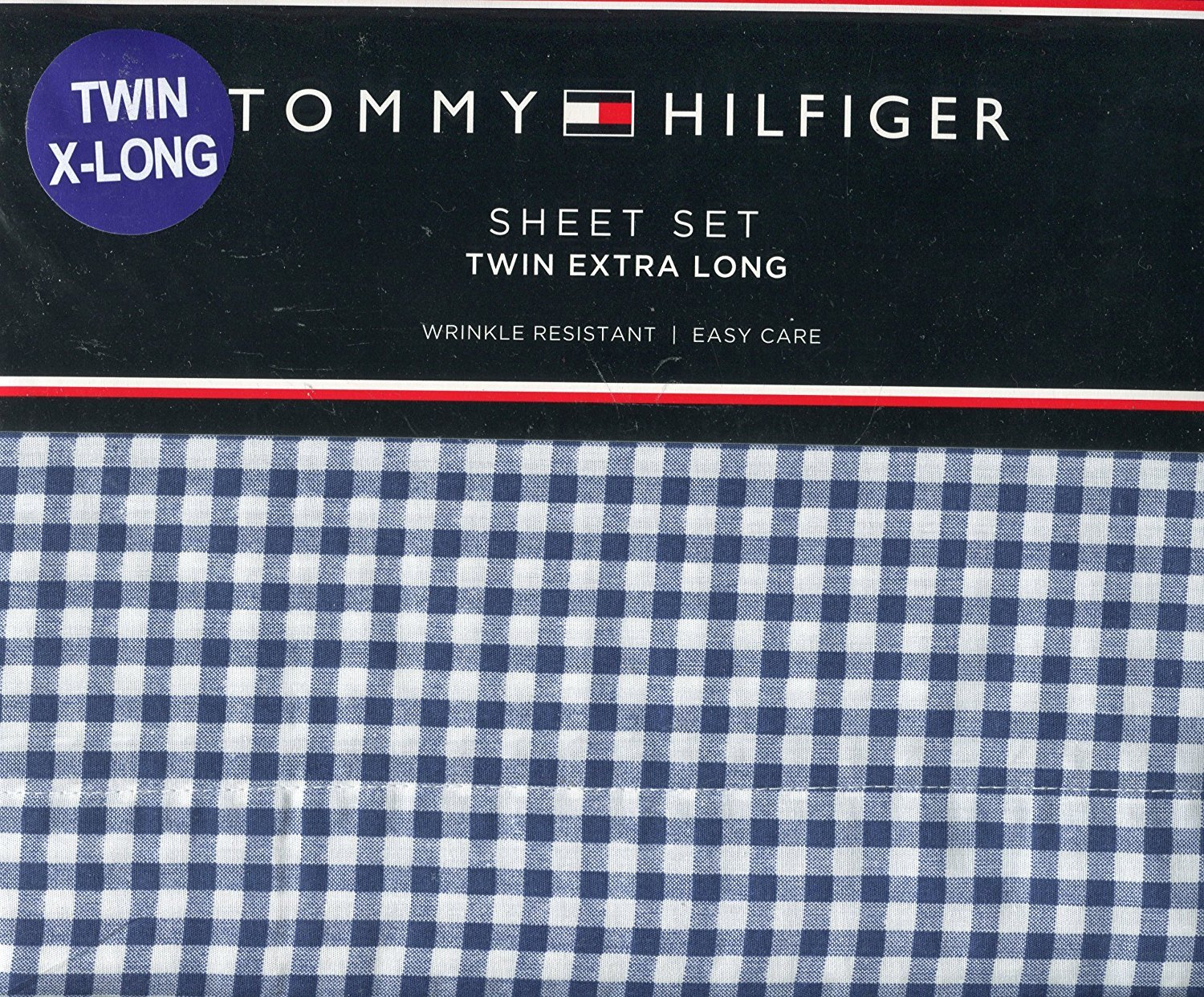 Tommy Hilfiger Navy and White Gingham Check Sheet Set Twin XL