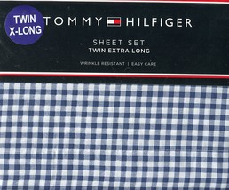 Tommy Hilfiger Navy and White Gingham Check Sheet Set Twin XL - $55.00