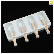 Ice Cream Molds Silicone 4 Cell Ice Cube Tray Popsicle Maker DIY Homemad... - $14.85