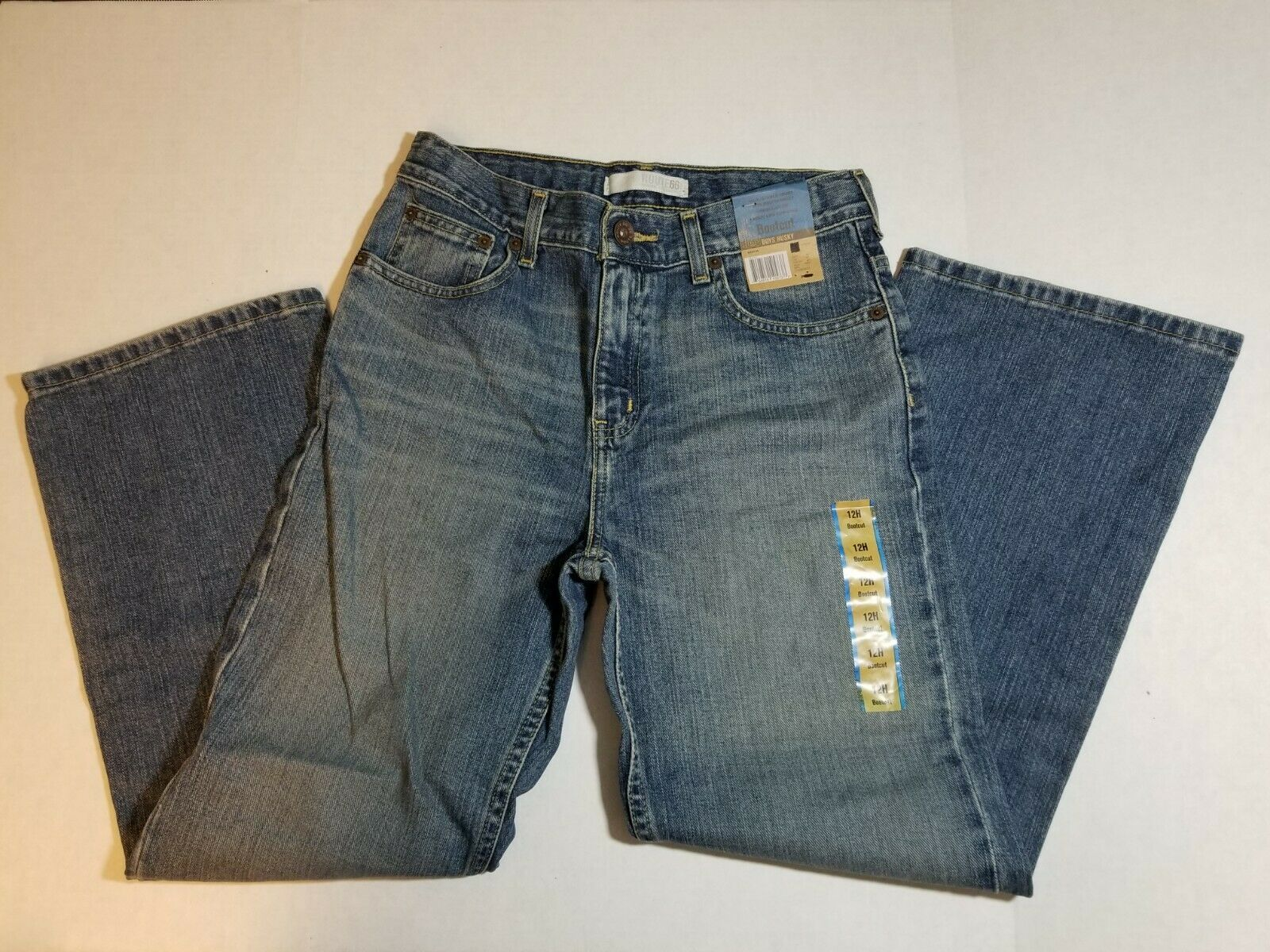 NWT Route 66 Boys Husky Bootcut Jeans Size 12H Medium Wash Pants