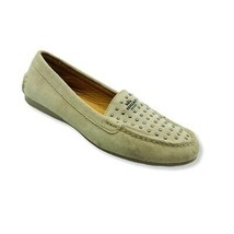 Coach Womens Orlene Moccasins Loafers Beige Suede Slip On Studded Almond Toe 7 B - $27.69