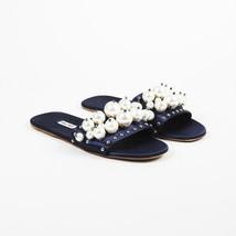 Miu Miu Blue Satin Faux Pearl Slide Sandals SZ 39 - $355.00