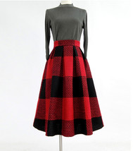 2020 Winter PLAID Midi Holiday Outfit Women Wool Plaid Party Skirt Plus Size image 10