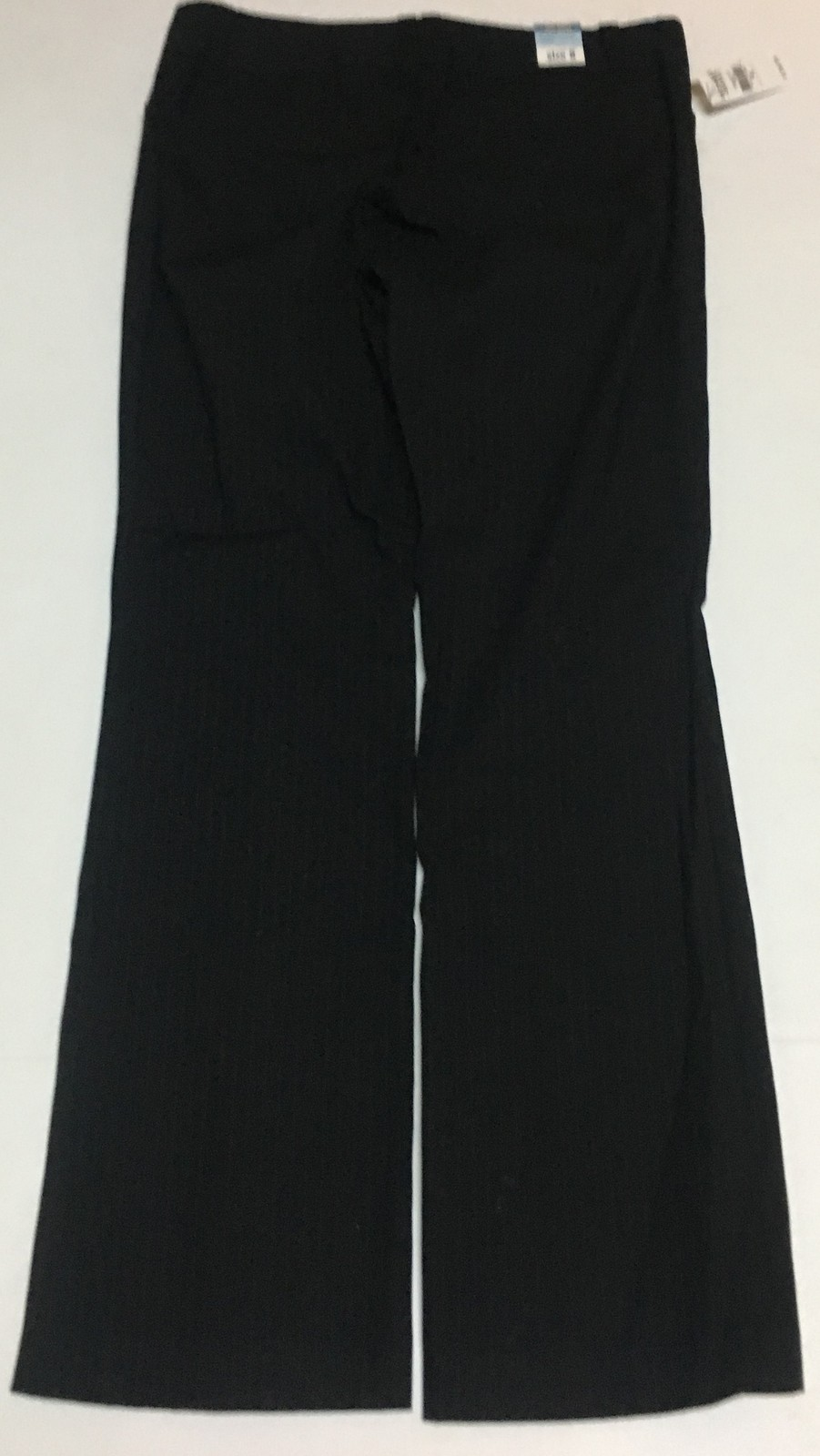 Old Navy Low Waist Pants Black Pinstriped Boot Cut Sz 8 Flat Front Stretch NWT