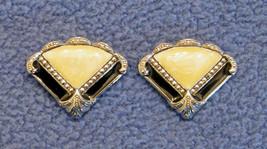 Avon Pierced FAN EARRINGS Black & Pearlized Faux MARCASITE Nickel Free V... - $19.75