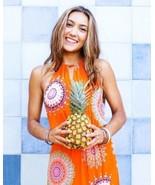 NEW $138 ANTHROPOLOGIE LIVIA HALTER DRESS BY FLOREAT,  ORANGE, SIZE 8 - $45.54