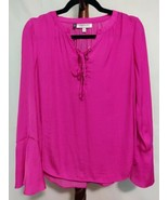 Jennifer Lopez size XS women's top pink color LS round neck ties in fron... - $18.46