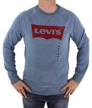 NEW NWT LEVI'S MEN'S CLASSIC COTTON LONG SLEEVE GRAPHIC FLEECE SWEATSHIRT BLUE image 1