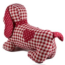 Delton Checkered Plaid Red Heart Dachshund Puppy Dog Love Door Stopper Doorstop image 2