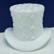 Fenton art glass top hat daisy button toothpick holder hobnail vtg Milk ... - $28.86