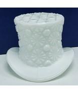 Fenton art glass top hat daisy button toothpick holder hobnail vtg Milk ... - $28.86