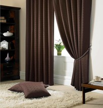 New Madison Chocolate Brown 46 x 54'' Pencil Pleat Curtains - $22.89