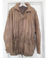 Bogota Colombia Jacket Coat Hand Made Pebbled Leather Quilted Hooded Bro... - $239.95