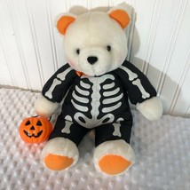 Hallmark Plush Bear Skeleton Holding Pumpkin Treat Basket Halloween - $5.32