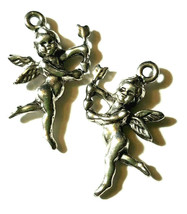 CUPID CHERUB WITH ARROW FINE PEWTER PENDANT CHARM image 1