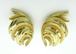 Crown Trifari Gold Tone Feather Mid Century Clip Earrings (B) - $29.70