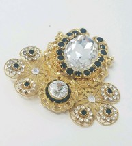 Vintage signed Jane 1999 brooch collectible rhinestones pin filigree gold tone - $24.75