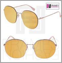 FENDI EYELINE FFM0313FS Rose Gold Pink Mirrored Flat Metal Round Sunglas... - $212.85