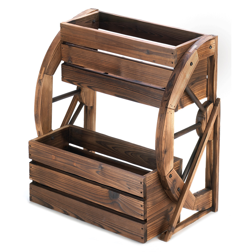 Image of Large Planters, Wooden Outdoor Flower Planters, Wagon Wheel Double-tier Planter
