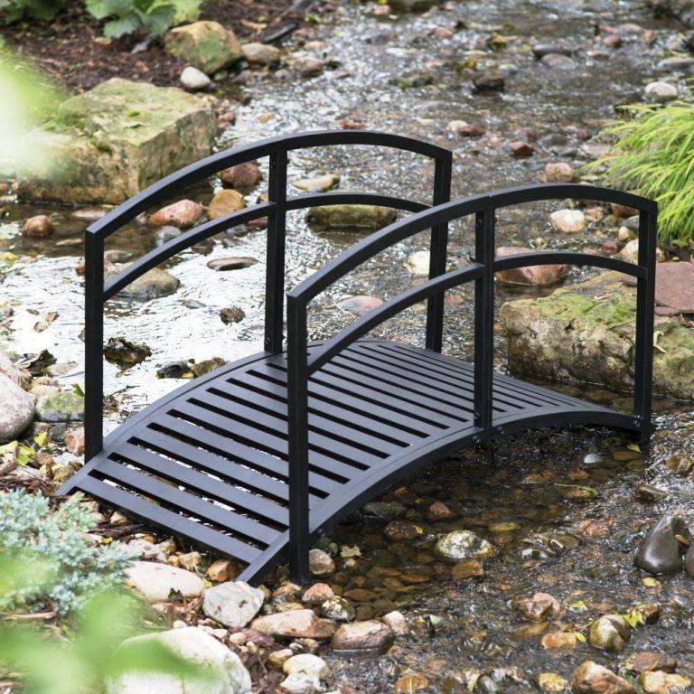 Decorative garden bridge metal rail pond walkway yard