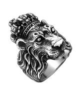 Authentic Real Solid 925 Sterling Silver Crown Lion King Ring for Men Bo... - $117.99