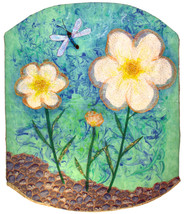White Tulle Flowers: Quilted Art Wall Hanging - $320.00