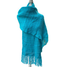 Open Knit Crochet Handmade Shawl Wrap Lap Blanket Turquoise Blue Fringe - $16.61