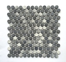 3/4 X 3/4 Penny Round Grey Glossy Finish Porcelain Mosaic 11 Pcs. Per case