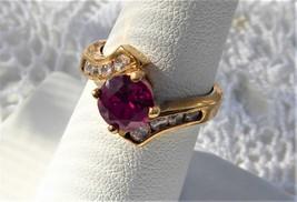 Genuine Ruby Faux Diamonds Dinner Ring Modern 925 Bypass Estate June Birthstone - $58.00