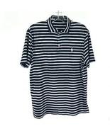 Mens Size Medium Polo Ralph Lauren Navy Blue Striped Short Sleeve Polo S... - $24.49