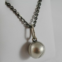 925 Sterling Silver Necklace Burnished Pendant Ball Tennis Made in Italy image 2